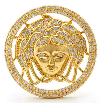 King Ice 14K Gold CZ Medusa Head Pin