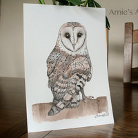 Archival Print of beautiful watercolour british barn owl painting glicee