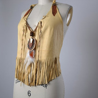SUMMER SALE Deerskin Leather Top - Burning Man Clothing Leather Festival Halter Top - Festival Clothing - Native American Leather Top