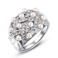 Fashion Pearl Beads Crystal Stainless Steel 18K Gold Plated Punk Retro Finger Ring Women Engagement Wedding Band Bride Rings Fashion Jewelry Gifts = 1929459844