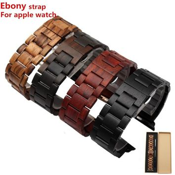 100% Natural Ebony Apple Watch Strap Wooden IWatch Band(38mm 42mm)