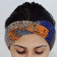 SALE Michigan Headband Orange and Blue Headband Michigan State Headband Blue and Orange Accessory Orange Michigan Accessory Winter Headband