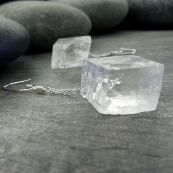 Raw Crystal Earrings Optic Calcite Icelandic Spar Viking Sunstone Unique Jewelry  Sterling Silver Dangle Chain Geometric Cube
