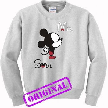 3 Mickey Kissing Minnie + Mr for men for sweater ash, sweatshirt ash unisex adult