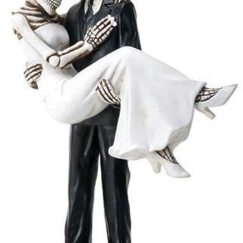 Groom Carrying Bride Skeleton Wedding Cake Topper 6.25H