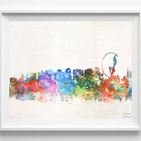 Fortaleza Skyline, Brazil, Cityscape, Brazilian, City Painting, Latin America, Cute, Poster, Illustration, Print, Watercolor, Paint [NO 566]