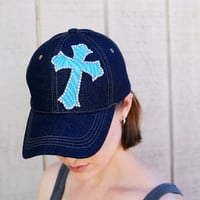 Rhinestone Cross Denim Baseball Cap For Women, Blue Womens Baseball Caps, Blue Denim Cap, Rhinestone Baseball Caps, Animal Print Cross Cap
