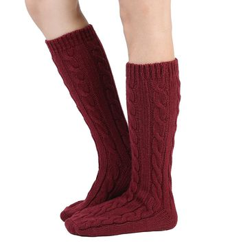 Women Slipper Crew Floor Non Skid Socks House Cable Knit Leg Warmers Knee High Length for Winter