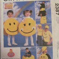 SALE Uncut McCall's Sewing Pattern, 2387! Smiley Characters/Accessories, Boxer Shorts/Baseball Caps/Kids Smiley Face Costume/Back Pack/ Bean