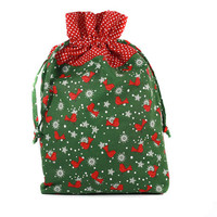 Christmas Gift Bag, Drawstring Pouch, Green and Red Bird Pouch, Drawstring Bag