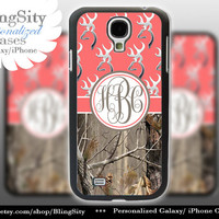 Monogram Galaxy S4 case S5 Real Tree Camo Coral Browning Personalized RealTree Samsung Galaxy S3 Case Note 2 3 Cover