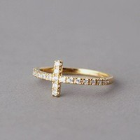 CZ SIDEWAYS CROSS RING GOLD SIDE CROSS STACKABLE BAND CROSS JEWELRY by Kellinsilver.com - Fashion Jewelry Online Shop as ETSY