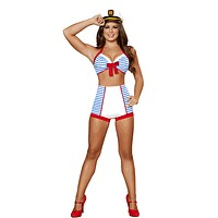 Sexy Striped Pin Up Sailor Girl Halloween Costume