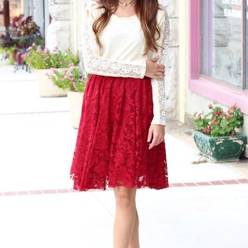 All About the Lace High Waist Skirt {Berry Red}