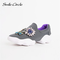 Brand Shoes 2017 Spring Autumn Shoes for Women  Flat Shoes Women Fashion Rhinestones Flower Casual Platform Shoes A008
