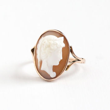 Vintage 9k Rose Gold Hardstone Cameo Ring - Size 10 Edwardian Carved Banded Agate Fine Classic Statement Jewelry