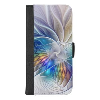 Floral Fantasy, Colorful Abstract Fractal Flower iPhone 8/7 Plus Wallet Case