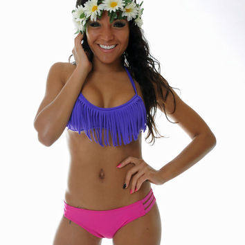 Purple Fringe Bikini  TOP ONLY