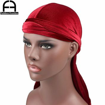 High Quality Men's Velvet Durags Bandana Turban Hat Wigs Doo Men Durag Biker Headwear Headband Pirate Hat Hair Accessories