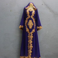 Full Gold Embroidery Purple Caftan Dress for Wedding Bridesmaid Party Summer Maxi Kaftan Dress - Smaller Size for Children Youth Caftan