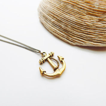 Small ANCHOR Necklace Antique Gold, Long Layering Necklace, Nautical Long Chain Necklace, Men Layering Necklace, Women Long Necklace