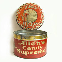 Vintage LARGE Candy Tin Store Display, Allen's Toffee Candy Supreme Container with Standing Lid, Grocery Restaurant Staging Prop
