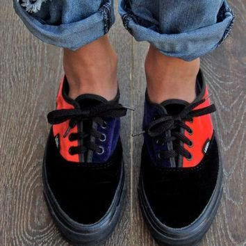 VLXZRBC Rare Vintage Vans - Retro Velvet 80's Vans Made in the USA Velvet Skater Shoes Sneaker