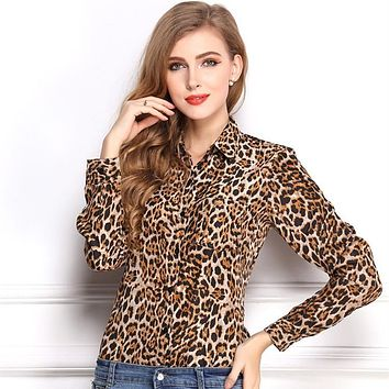 Hot! 2015 New Arrival Fashion Designed Leopard Pattern Temperament Underwear Long Sleeve Female Chiffon Shirt /Blouse