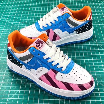 Parra X Nike Custom Air Force 1 Low White Muticolor Sport Shoes - Best Online Sale