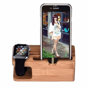 DCCKB6F Bamboo Wood Charging Station Charger Dock Stand Holder