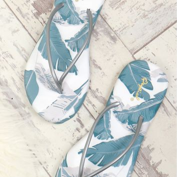 Palm Leaf Flip Flop Grey