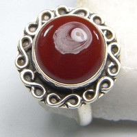 Carnelian gem stone ring, stone ring , silver ring, handmade sterling silver ring, Carnelian  ring, ring-0314140100