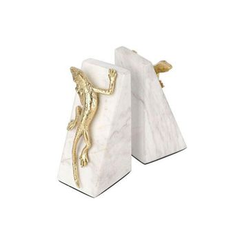 A11801 Iguana Bookends White & Gold