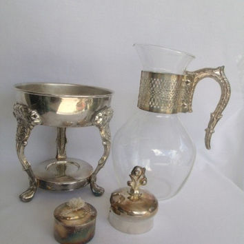 Coffee Carafe Pitcher Silver Plate and Glass Ornate