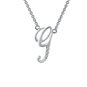 Lafonn Initials By Rhonda Faber Green Sterling Silver Platinum Plated Lassire Simulated Diamond Necklace (0.03 CTTW)