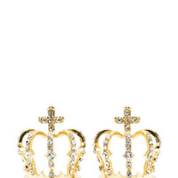 Queendom-Come-Jeweled-Crown-Earrings GOLD - GoJane.com