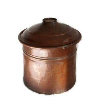 Large pot with lid, Hammered DOVETAILED COPPER, ANTIQUE primitive, Stove top boiler Turkish dye vat tub, Ice bucket Rustic farmhouse decor