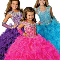 GKD Ball Gown Halter Beads Crystal Girls Pageant Dresses