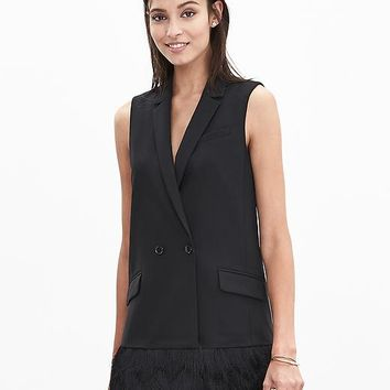 Banana Republic Fringe Long Vest