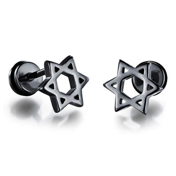 Men's titanium steel plating gold earrings personalized earrings simple hollow hexagram birthday gift GE309    BLACK