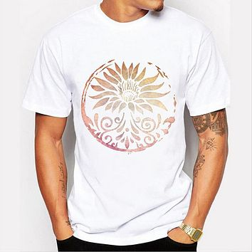 Summer Men print White T-shirts clothing Printing