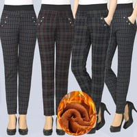 Slim Fit Elastic Waist Plaid Pants