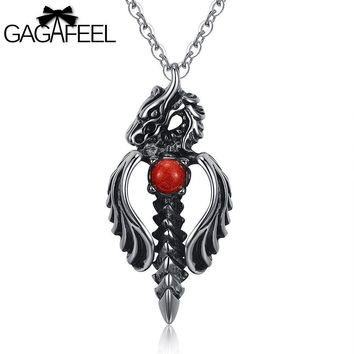 Domineering Punk Necklace Male 316L Stainless Steel Men Jewelry Dragon Sword Pendant Necklace
