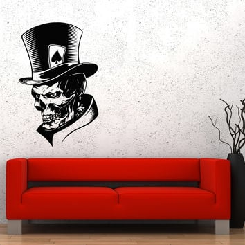 Wall Decal Joker Skeleton Skull Maps Peaks Fear Monster Hat Vinyl Sticker Unique Gift (ed665)