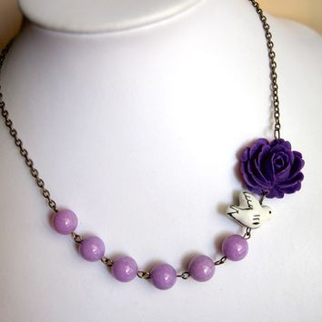 Lavender Rose Candy Jade and Bird Necklace. Nature Inspired. Flower Jewelry. Spring Summer Collection. Gift for her. Bridal Jewelry.