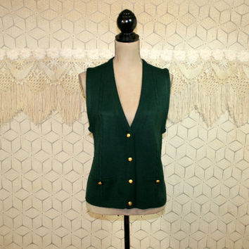 80s Dark Green Sweater Vest Preppy Button Up Womens Vest Medium 80s Clothing Green Vest Cable Knit 1980s Vintage Clothing Womens Clothing