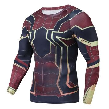 Raglan Sleeve Avengers 3 3D Printed T shirts Men Spiderman Compression Shirts 2018 Tops For Male Comics Cosplay Costume Cloth