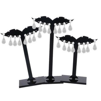 ac DCCKO2Q 3Pcs Earring Ear Stud Jewelry Display Holder Tree Storage Hanger Plastic Stand Show Rack