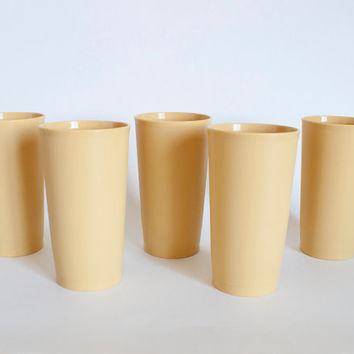 1960's Tupperware Soft Harvest Gold Tumblers, Tupperware Plastic Juice Cups Yellow, SET of 5