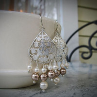 Sterling silver filagree teardrop earrings with bronze and white Swarovski crystal pearls.